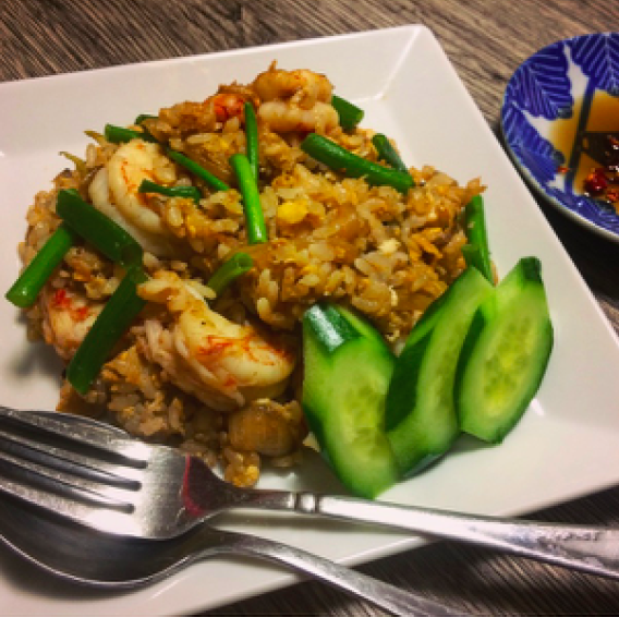""" Khao Phat Goong(Fried rice with Prawns) ""タイ風海老炒飯!!ナンプラーの香る絶品炒飯!!"